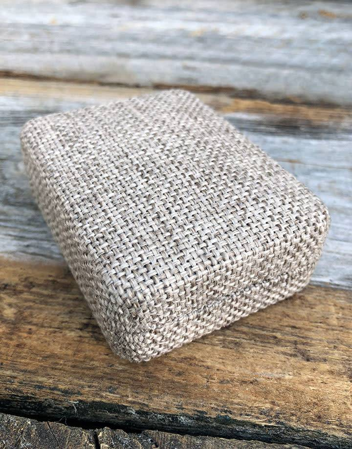 DBX3912 = Burlap Covered Small Pendant / Earring Box 2-1/4'' x 3'' x 1-1/4''H