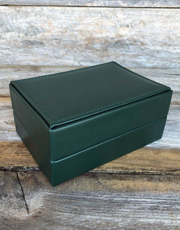 DBX6000 = DELUXE GREEN FAUX LEATHER WATCH BOX 5-3/4'' x 4-1/8'' x 2-3/8''
