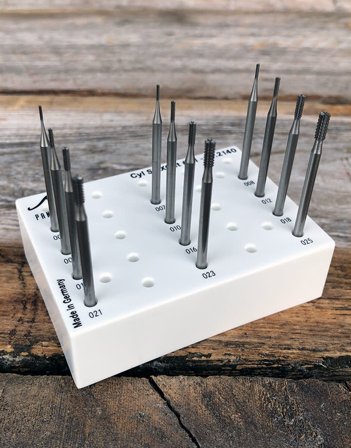 Panther Burs 77.2140 = Cylinder Square Cross Cut Bur Set (0.6 to 2.5mm) 12pcs