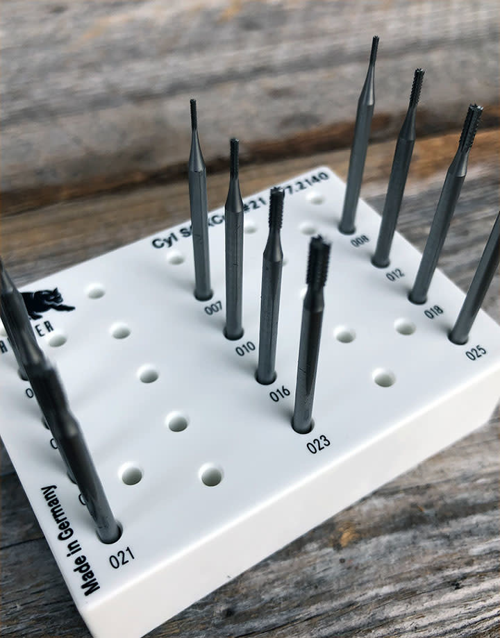 Panther Burs 18.117G = Cylinder Square Cross Cut Bur Set (0.6 to 2.5mm) 12pcs
