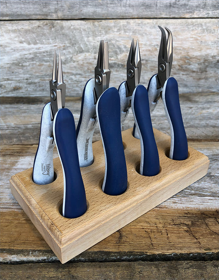 PL96099 = Xbow 4 Piece Plier Set in Wood Stand Swiss Made