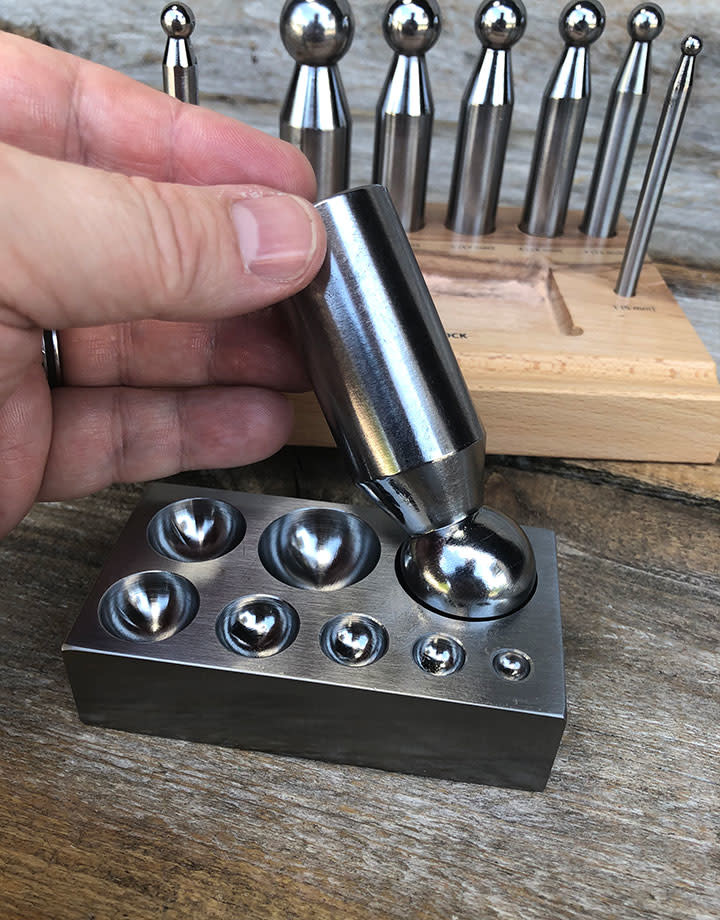 DA708 = Dapping Punch Set Economy 8pc with Block & Stand