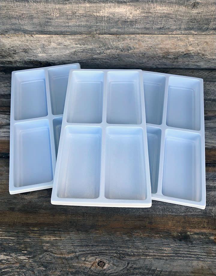 "DIS6804 = Plastic Tray Insert 4 Spaces 1-3/8"" Deep - White (Pkg of 3)"