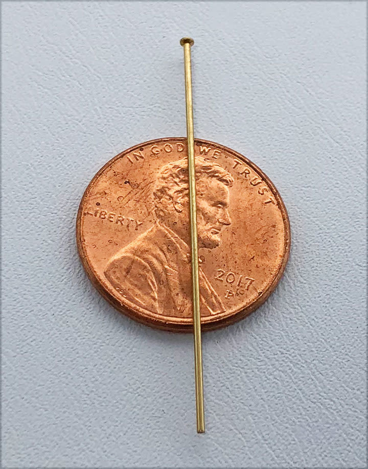 807F-01 = Head Pin 1.5'' x .025'' (22ga/.65mm) Gold Filled (Pkg of 10)