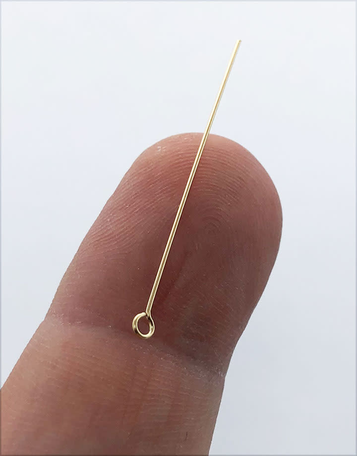 808F-05 = Eye Pin .020'' x 1.5'' (24ga/.5mm) Gold Filled (Pkg of 10)