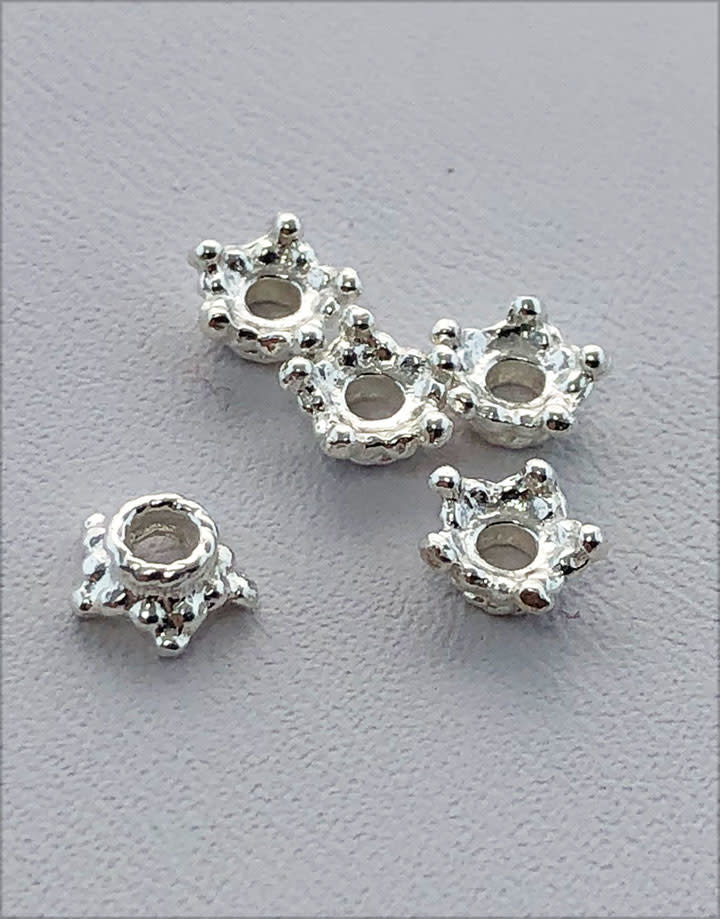 5020S-52 = Sterling Silver Bead Cap Star 5.0mm (Pkg of 5)