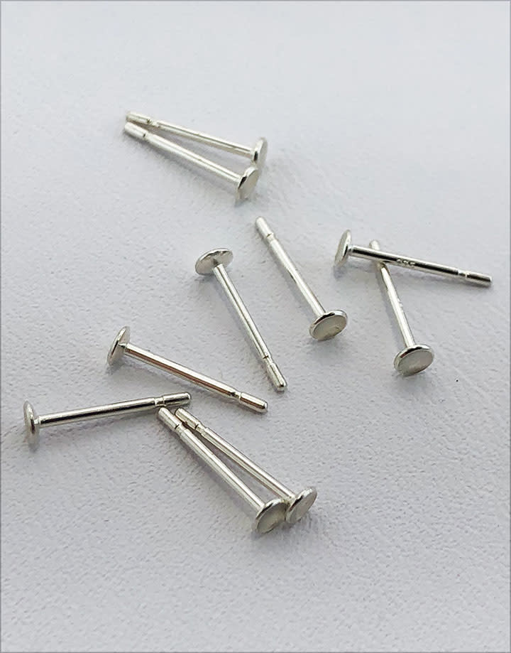 964S-22 = Earring Post & Cup 2.5mm with .030 x 3/8'' Post - Sterling Silver (Pkg of 10)