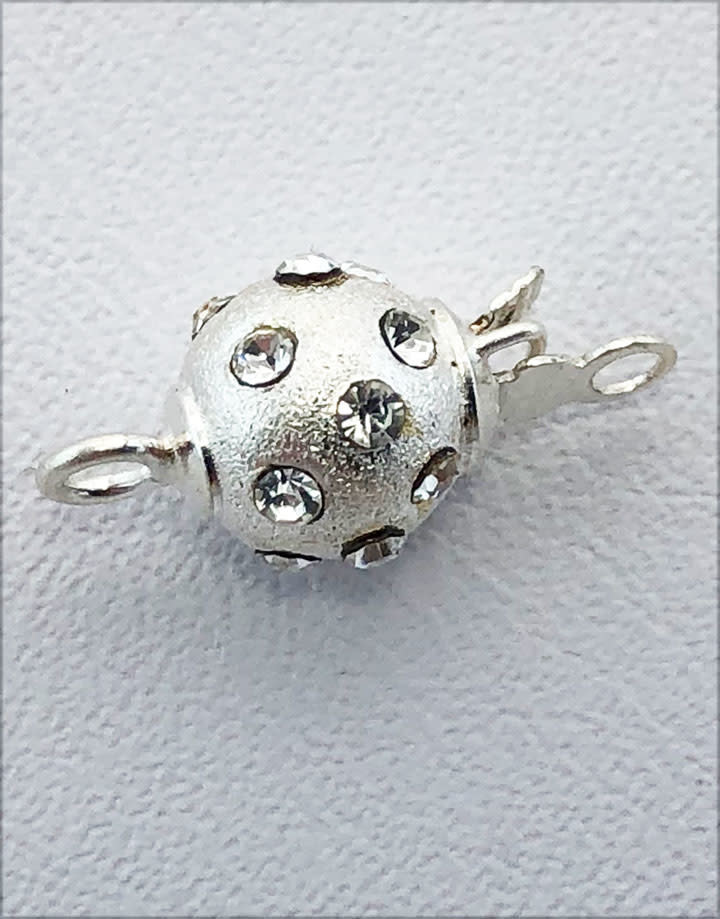 915S-64 = Sterling Silver Satin Bead Clasp with Crystals 6mm (Each)