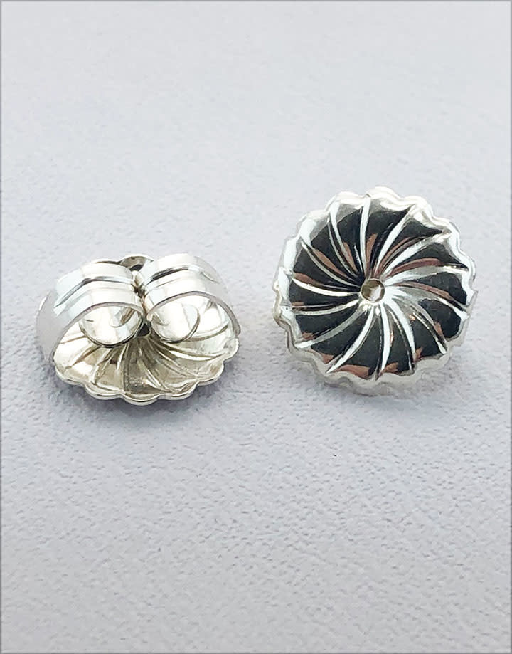 909S-09 = Earring Back Jumbo Sterling Silver 10mm (Each)