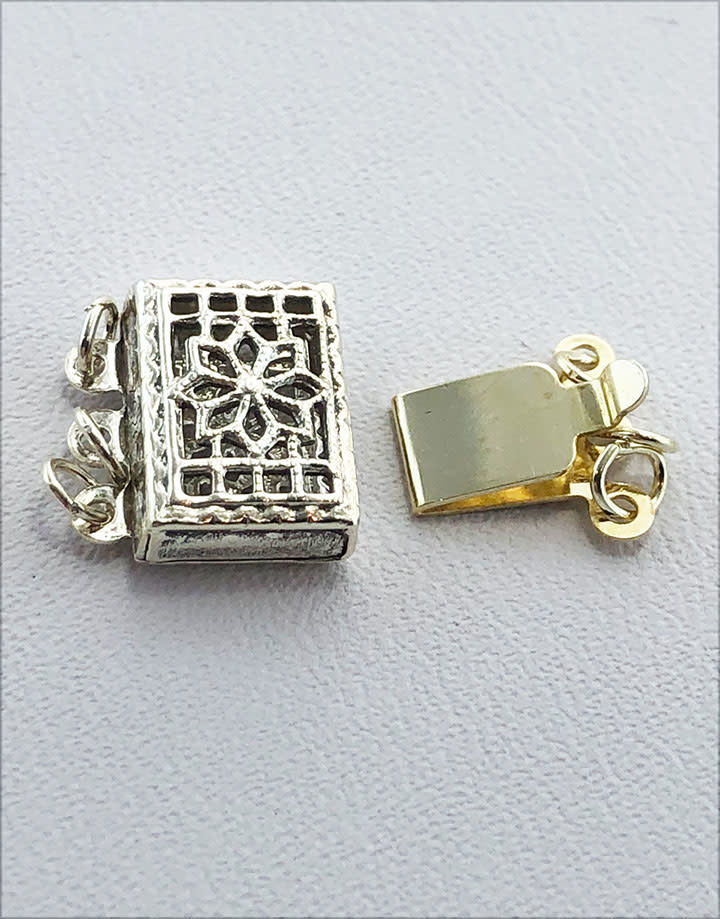 915S-25 = STERLING SILVER - CLASP PEARL 3 STRAND-FILIGREE-10x7MM (EACH)