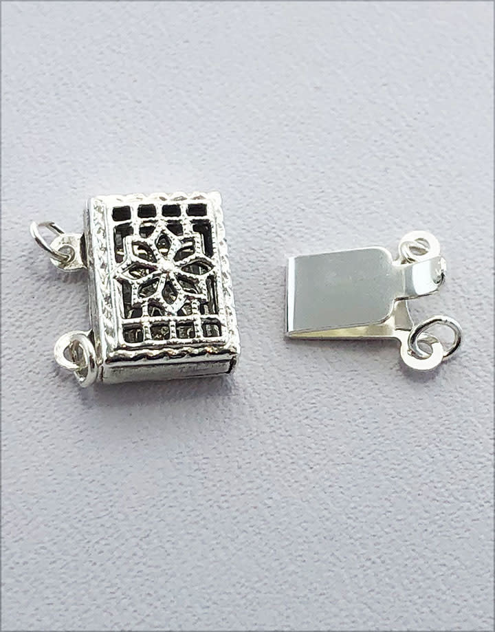 915S-24 = STERLING SILVER - CLASP PEARL-2 STRAND-FILIGREE-10x7MM (EACH)