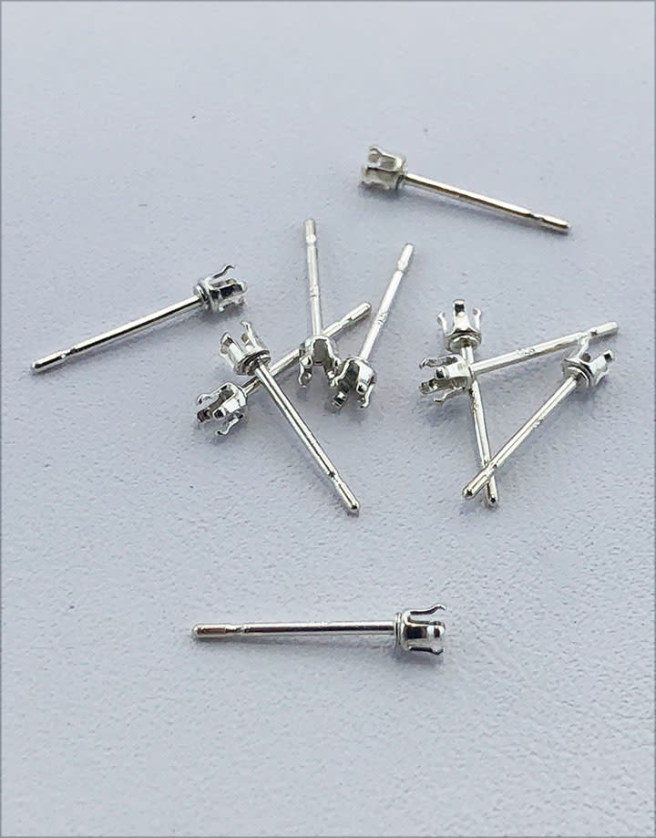 110S-2.0 = Sterling Silver Snap-in Earring 4 Prong 2mm Round (Pkg of 10)