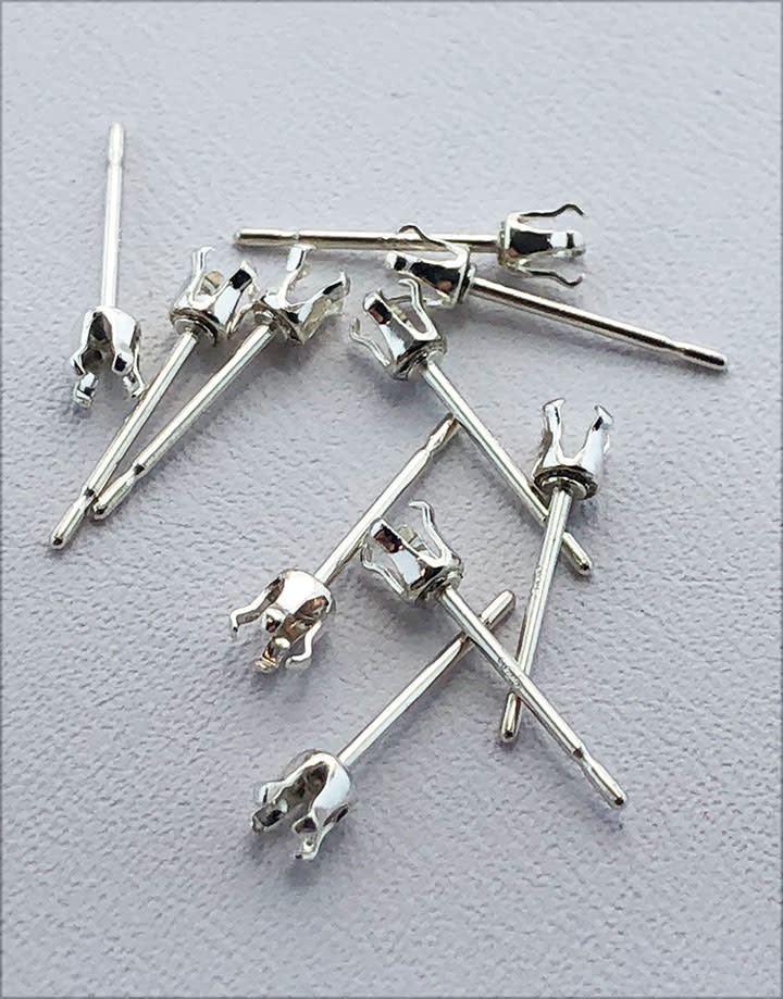 110S-3.0 = Sterling Silver Snap-in Earring 4 Prong 3mm Round (Pkg of 10)