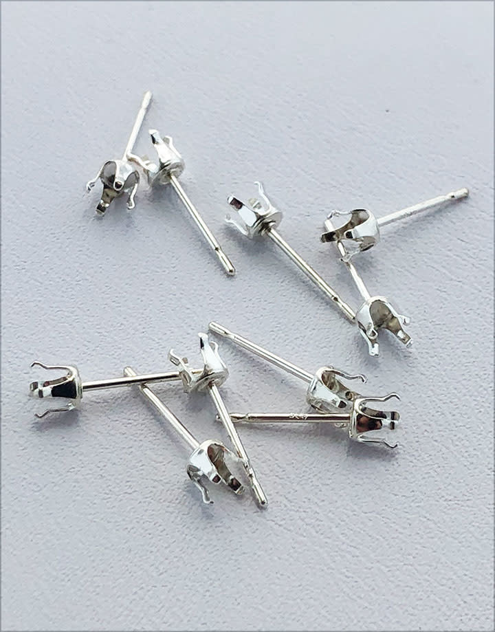 110S-4.0 = Sterling Silver Snap-in Earring 4 Prong 4mm Round (Pkg of 10)