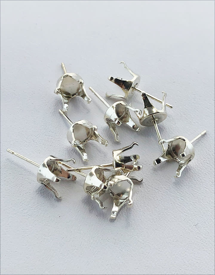 110S-8.0 = Sterling Silver Snap-in Earring 4 Prong 8mm Round (Pkg of 10)