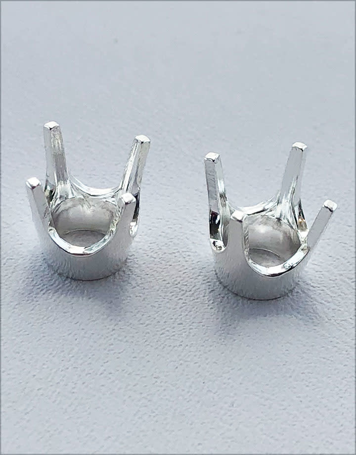 120S-8.0 = Sterling 4 Prong Round Head 8.0mm (Pkg of 2)