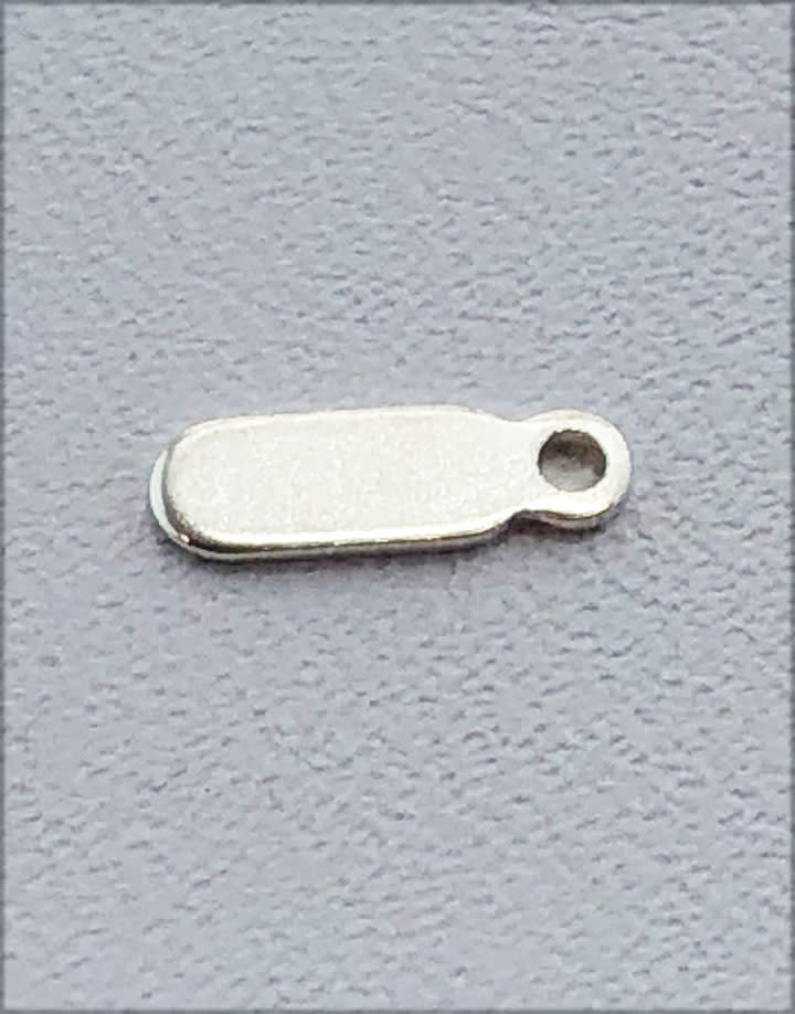 208S-07 = Sterling Silver Chain Tag Oval 7.7x2.5mm 1 Closed Ring (Pkg of 5)