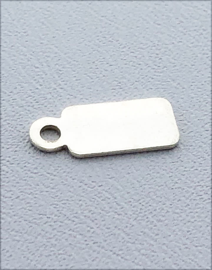 208S-09 = Sterling Silver Chain Tag Rectangle 9.1x4.8mm 1 Closed Ring (Pkg of 5)