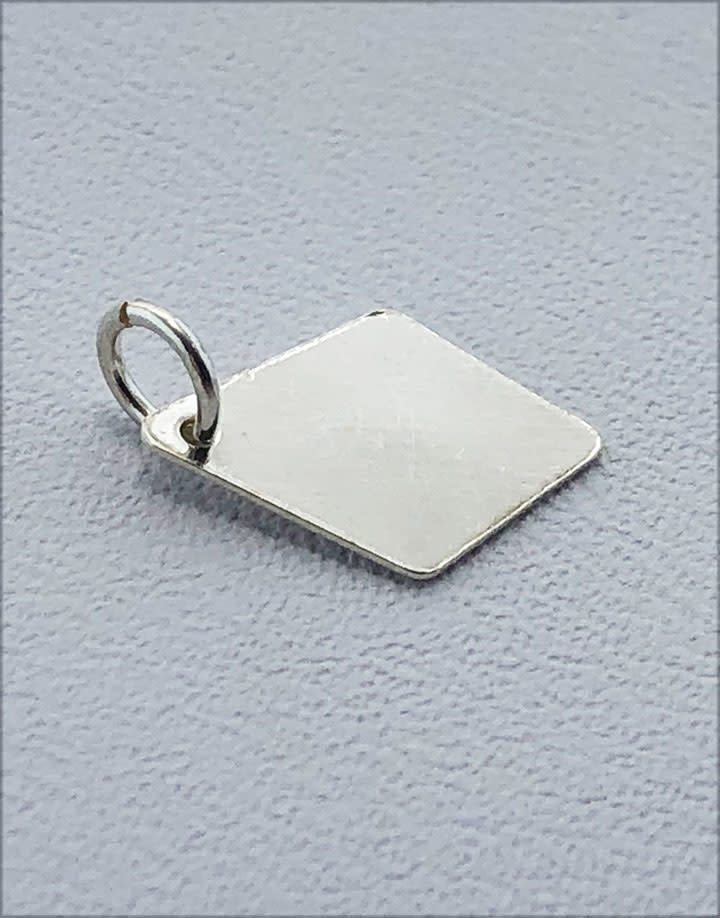 208S-15 = Sterling Silver Chain Tag  stamped 925 Kite Shape 7.7 x 11mm with Ring (Pkg of 5)