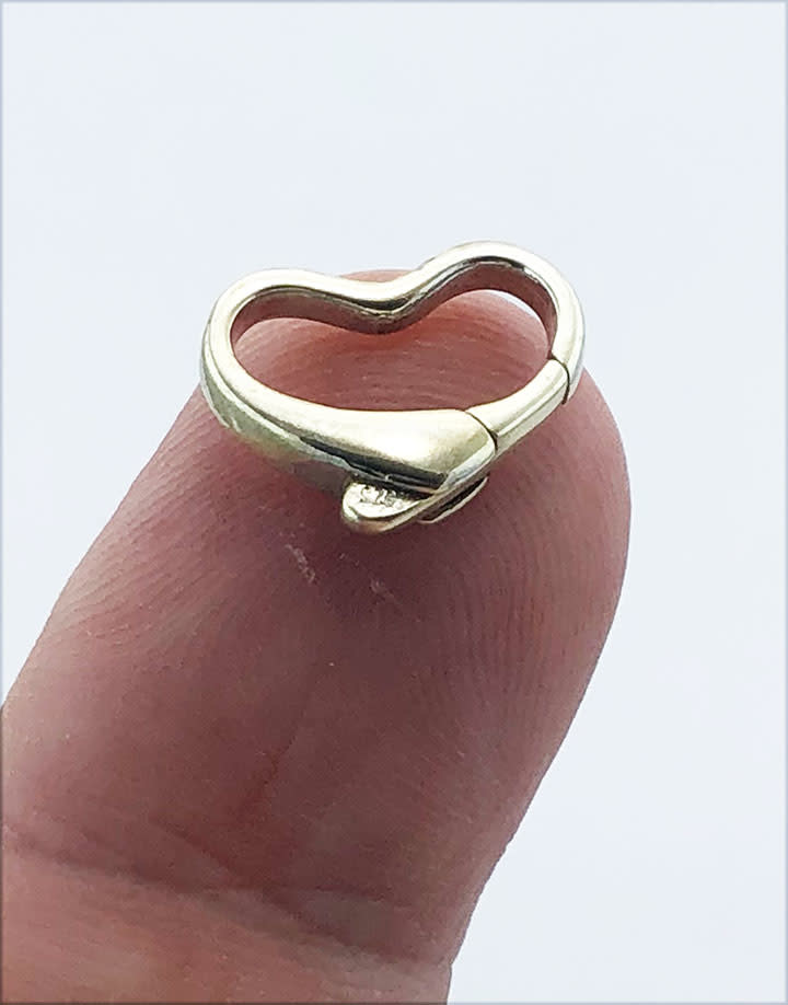 912S-51 = STERLING SILVER - CLASP HEART SHAPE-10x15MM (EACH)