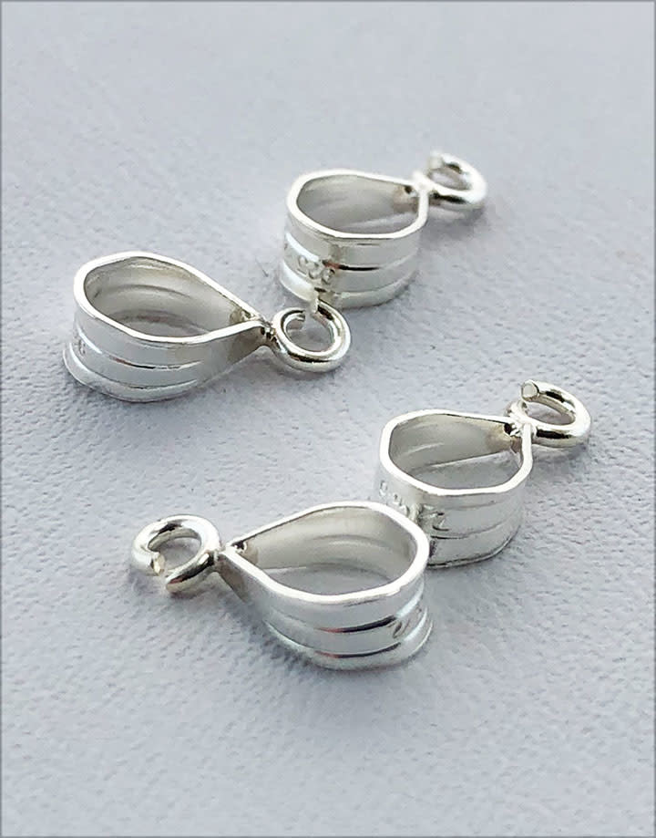 910S-37 = Sterling Silver Bail with Loop 3.0 x 6.5mm (Pkg of 4)