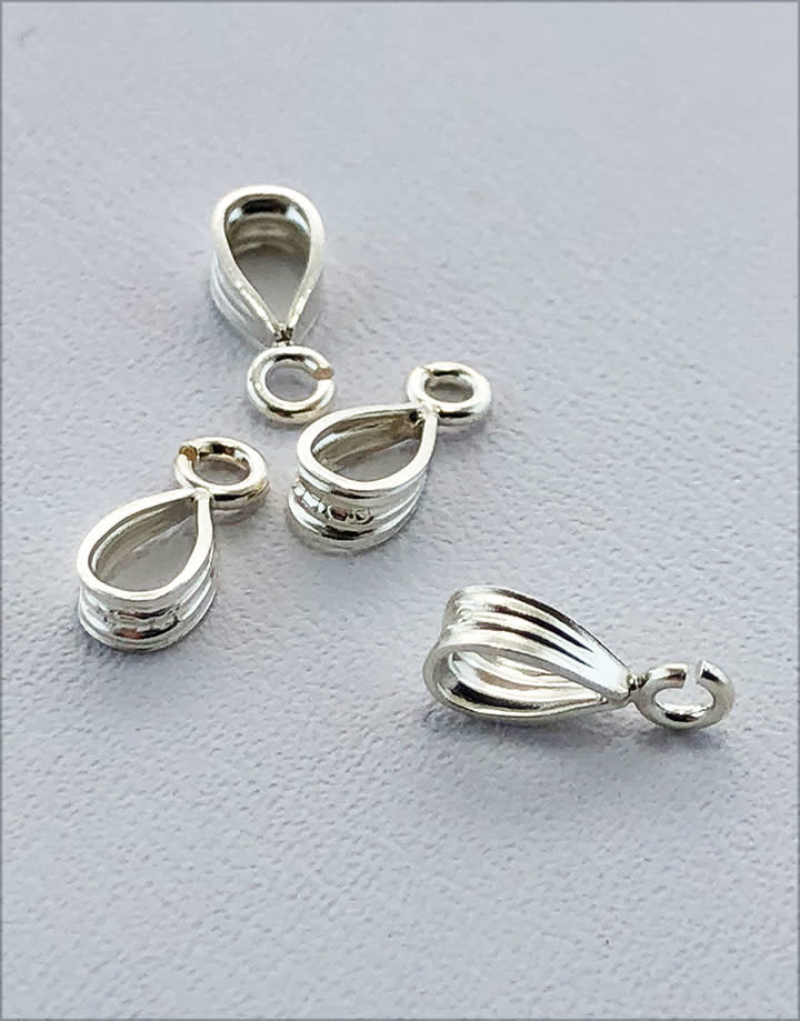 910S-36 = Sterling Silver Bail with Loop 2.3 x 5.5mm (Pkg of 4)