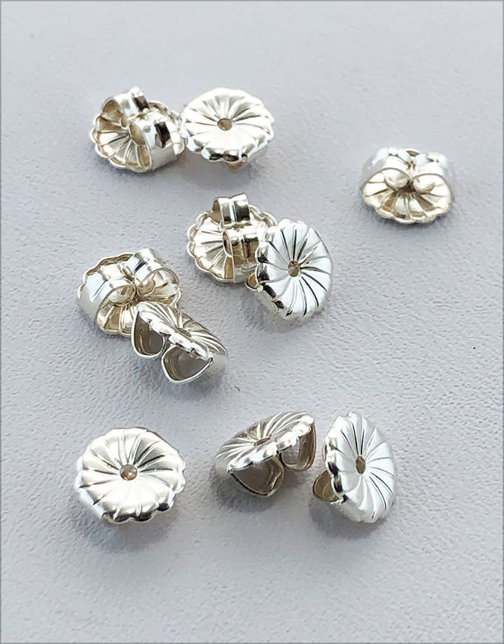 909S-07 = Earring Back Heavy Sterling Silver 7mm (Pkg of 10)