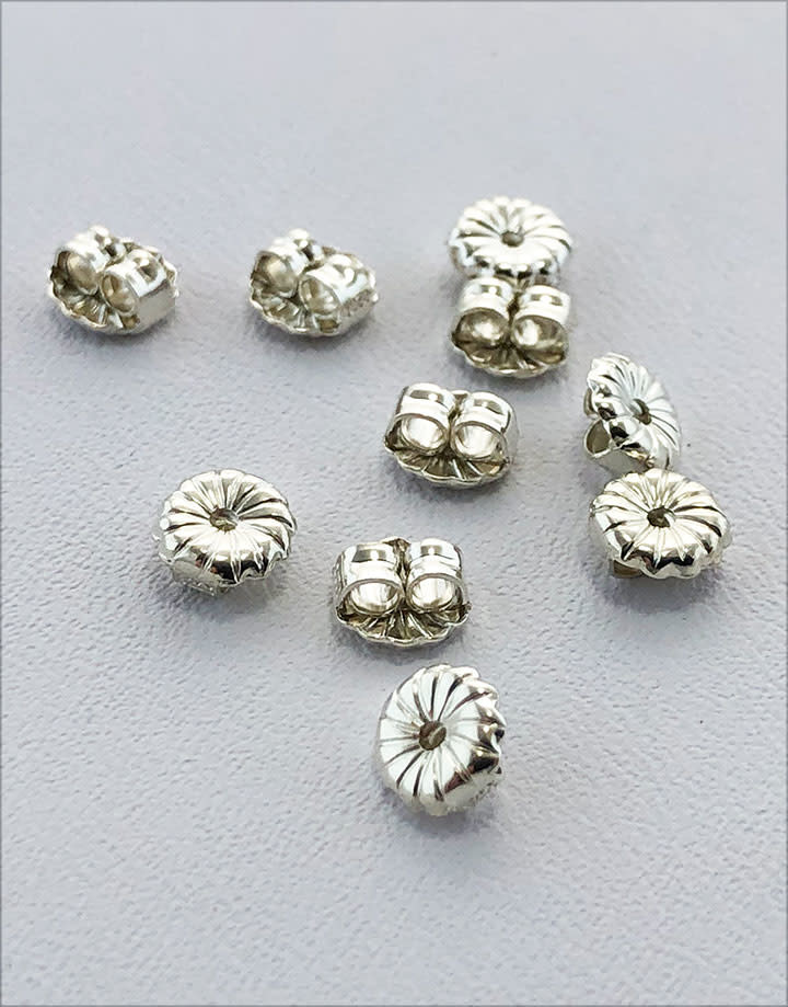 909S-05 = Earring Back Medium Sterling Silver 5mm (Pkg of 10)