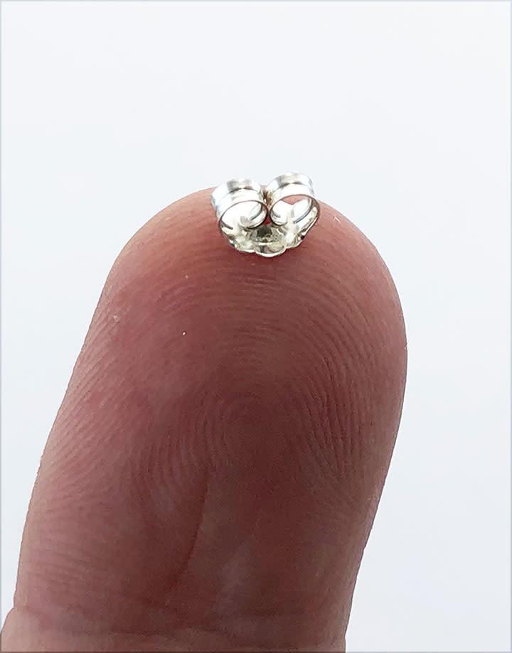 909S-04 = Earring Back Medium/Light Sterling Silver (Pkg of 20)