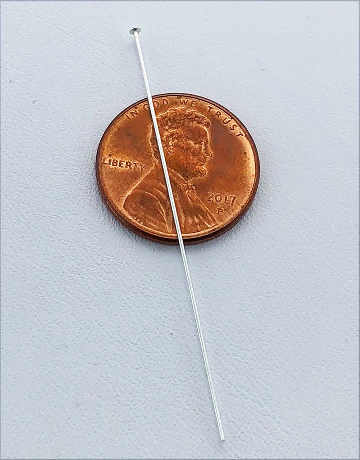 807S-07 = Head Pin Sterling Silver 2'' x .020'' (24ga/.5mm) (Pkg of 20)