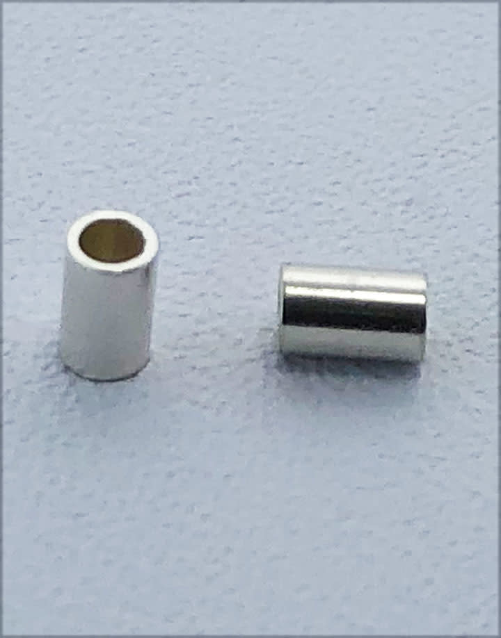 585S-51 = Sterling Silver Crimp Tube 3x2mm with 1.3mm Hole (Pkg of 50)