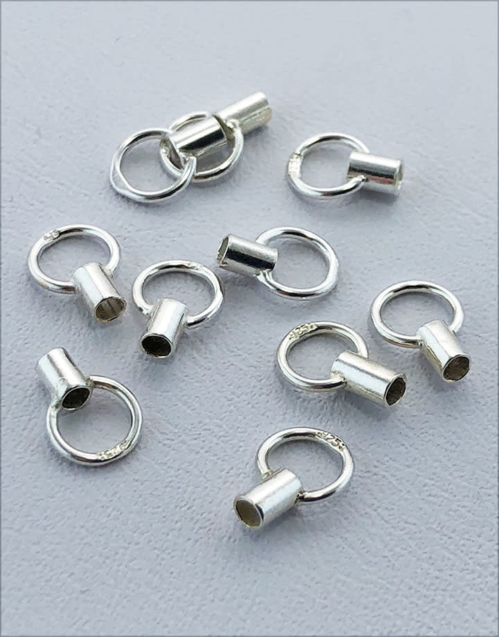585S-72 = Crimp Tube 3.5mm with Ring 1.5mm ID Sterling Silver (Pkg of 10)