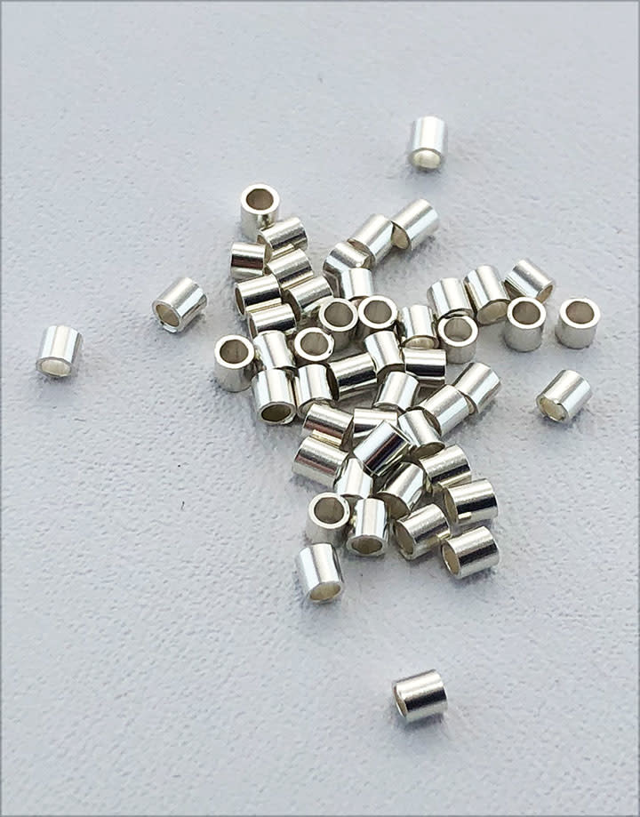 585S-50 = STERLING SILVER-CRIMP TUBE-2x2mm with 1.3mm HOLE (Pkg of 50)