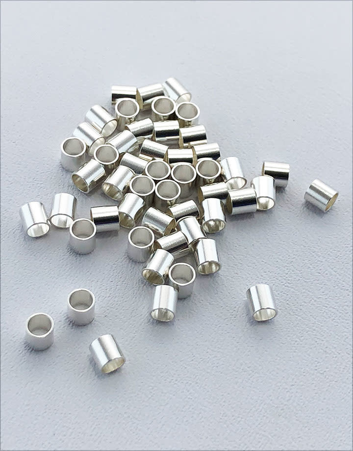 585S-46 = STERLING SILVER-CRIMP TUBE-3x3mm with 2.5mm HOLE (Pkg of 50)