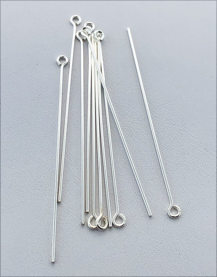 808S-18 = Sterling Silver Eye Pin 2'' x .030'' (20ga/.8mm) Wire (Pkg of 10)