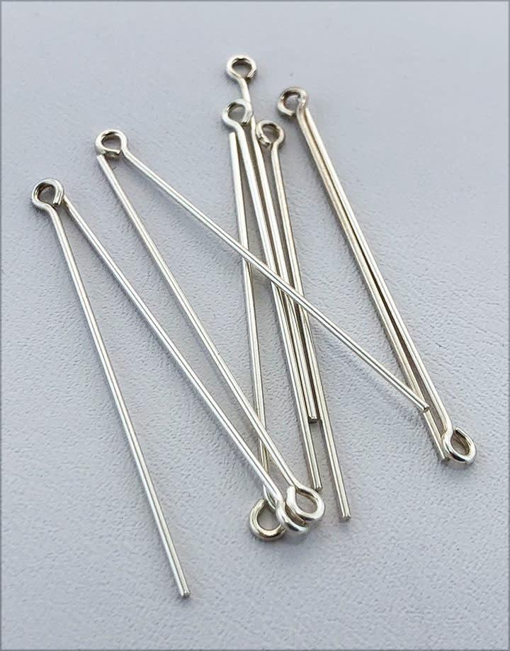808S-17 = Sterling Silver Eye Pin 1.5'' x .030'' (20ga/.8mm) Wire (Pkg of 10)