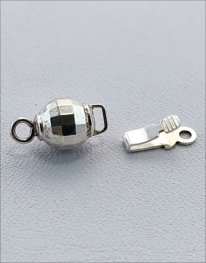 915S-58 = Sterling Silver Mirrored Bead Clasp 6mm (Pkg of 2)