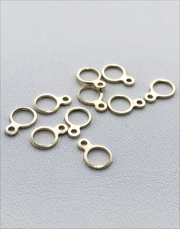 975S-01 = Sterling Silver Pendant Loop Double (.035''  & .125'' ID) Ring (Pkg of 10)