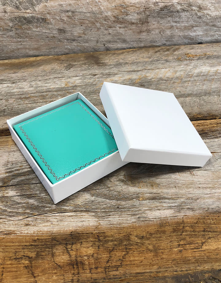 DBX6011 = Slim Proposal Engagement Ring Box Teal/White