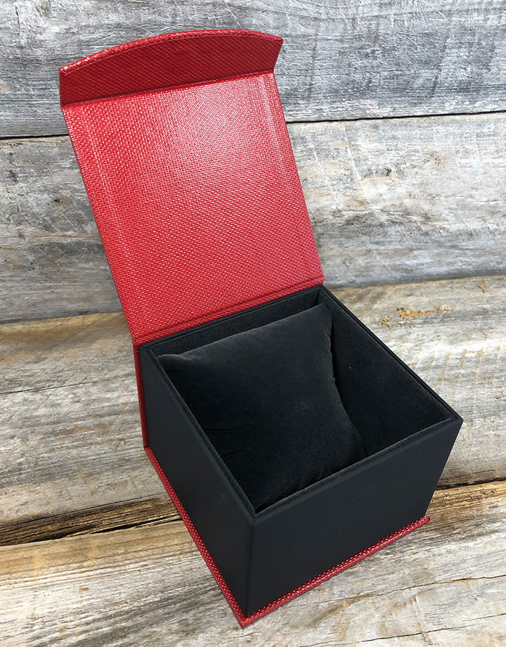 DBX4152 = Deluxe Magnetic Red/Black Watch Box 4'' x 4'' x 2-1/4''