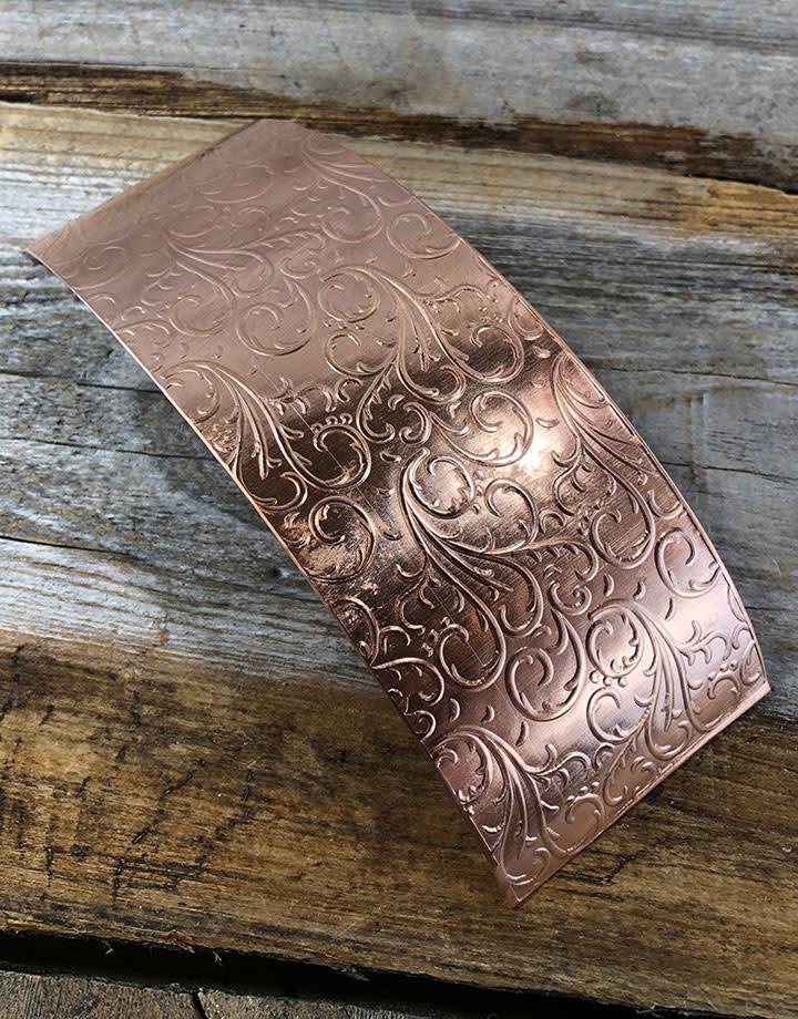 CSP3522 = Patterned Copper Sheet ''Vines''  2'' x 6'' 22ga