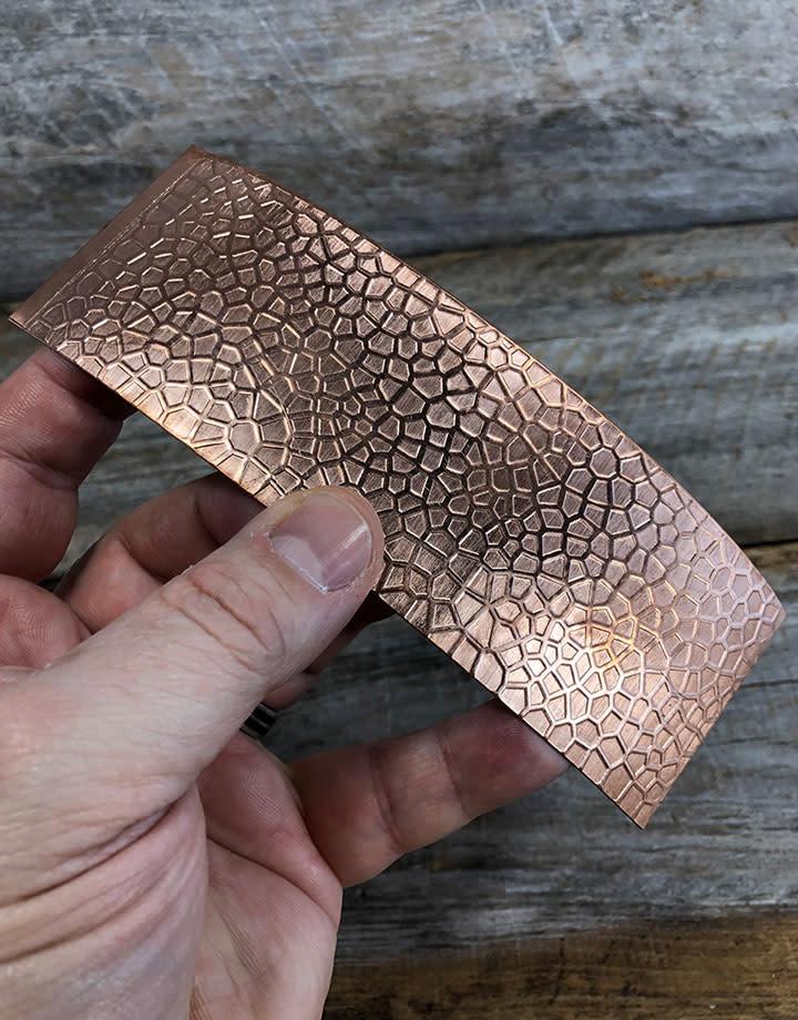 CSP4718 = Patterned Copper Sheet ''Lake Bed''  2'' x 6'' 18ga
