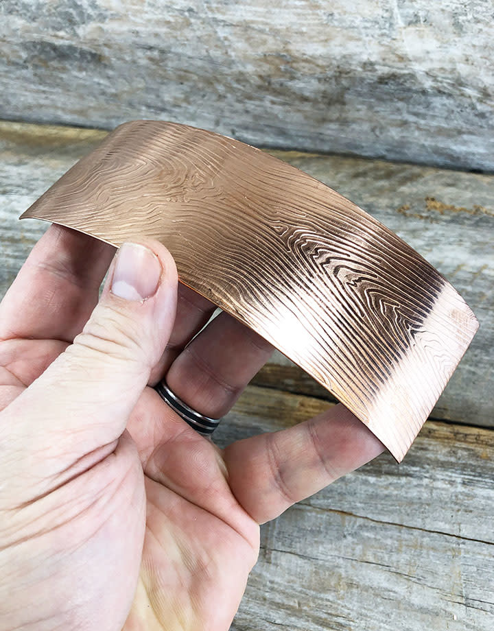 CSP3218 = Patterned Copper Sheet ''Wood Grain''  2'' x 6'' 18ga