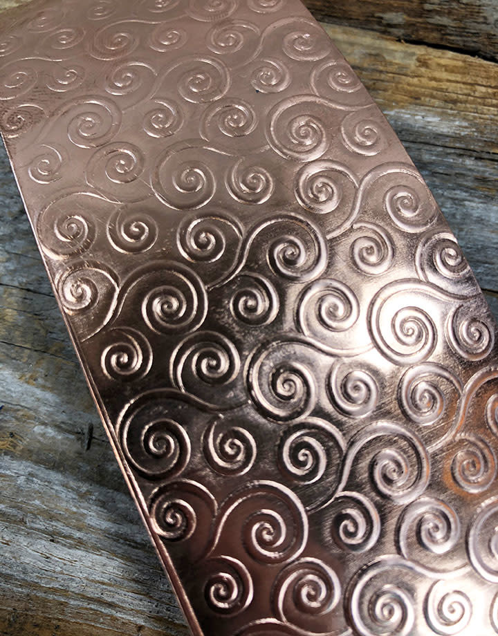 CSP3322 = Patterned Copper Sheet ''Gust of Wind''  2'' x 6'' 22ga