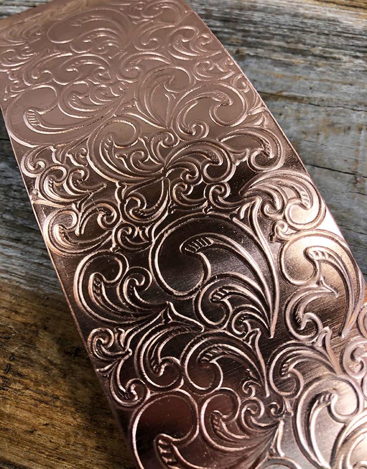 CSP3418 = Patterned Copper Sheet ''Nouveau''  2'' x 6'' 18ga