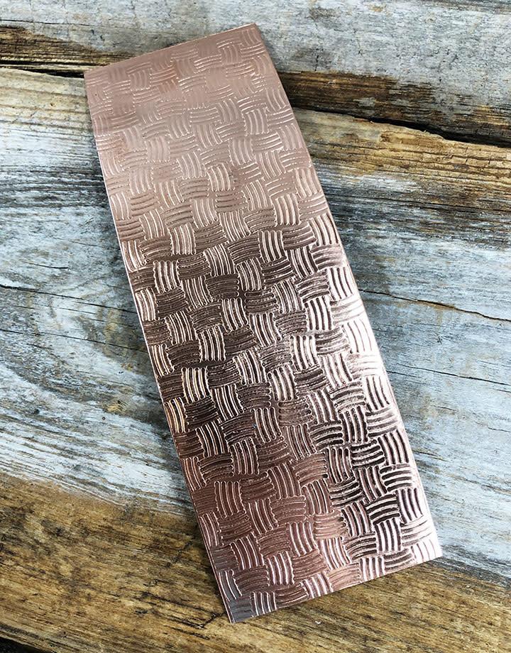 CSP3622 = Patterned Copper Sheet ''Basket''  2'' x 6'' 22ga