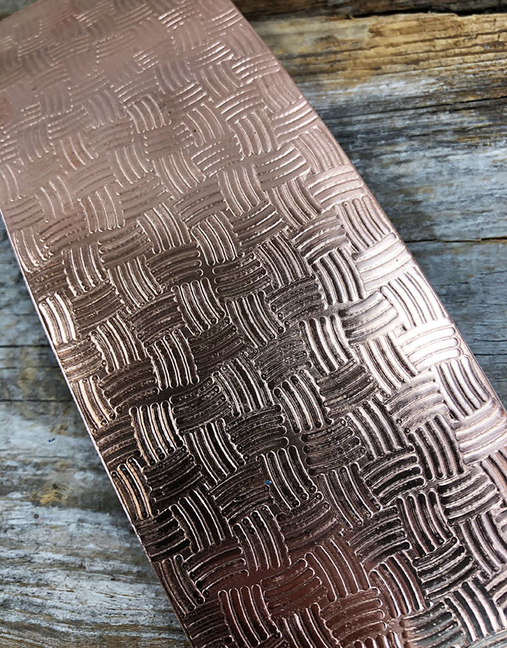 CSP3624 = Patterned Copper Sheet ''Basket''  2'' x 6'' 24ga