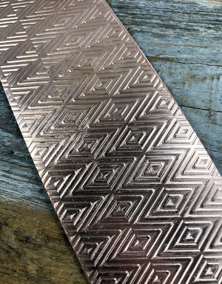 CSP4222 = Patterned Copper Sheet ''Traingle/Herringbone''  2'' x 6'' 22ga
