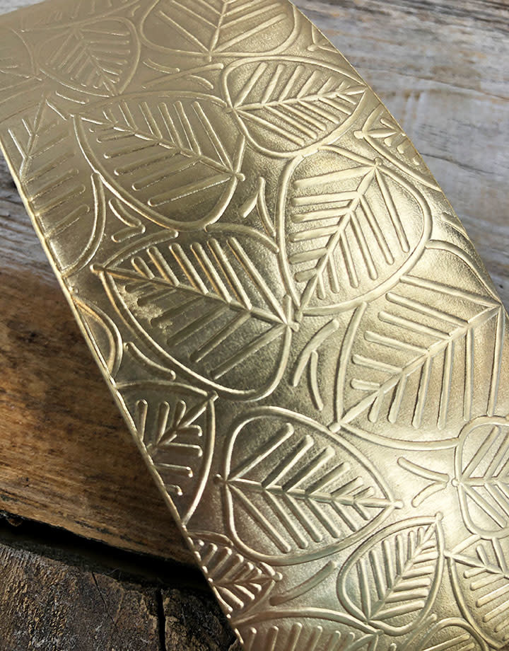 BSP37 = Patterned Brass Sheet ''Leaves'' 2'' x 6'' (Choose Guage)