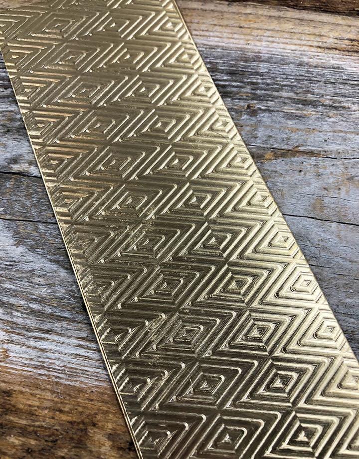 BSP42 = Patterned Brass Sheet ''Traingle/Herringbone'' 2'' x 6'' (Choose Guage)